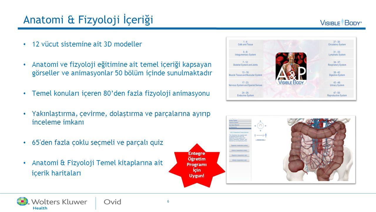 6 Anatomi & Fizyoloji İçeriği 12 vücut sistemine ait 3D modeller Anatomi ve fizyoloji eğitimine ait temel içeriği kapsayan görseller ve animasyonlar 5
