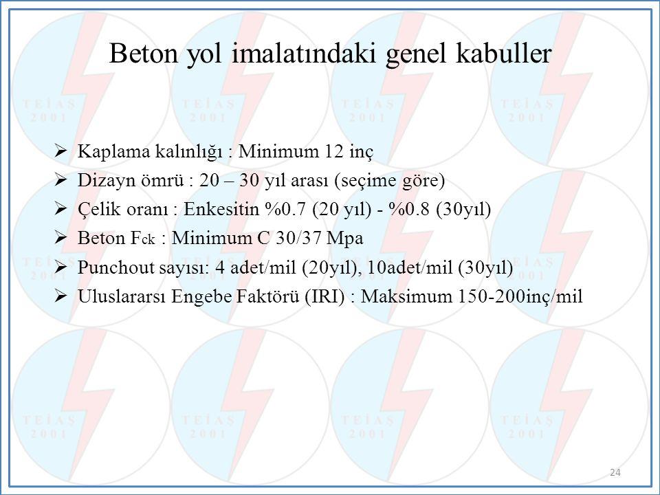 Beton yol imalatındaki genel kabuller  Kaplama kalınlığı : Minimum 12 inç  Dizayn ömrü : 20 – 30 yıl arası (seçime göre)  Çelik oranı : Enkesitin %0.7 (20 yıl) - %0.8 (30yıl)  Beton F ck : Minimum C 30/37 Mpa  Punchout sayısı: 4 adet/mil (20yıl), 10adet/mil (30yıl)  Uluslararsı Engebe Faktörü (IRI) : Maksimum 150-200inç/mil 24