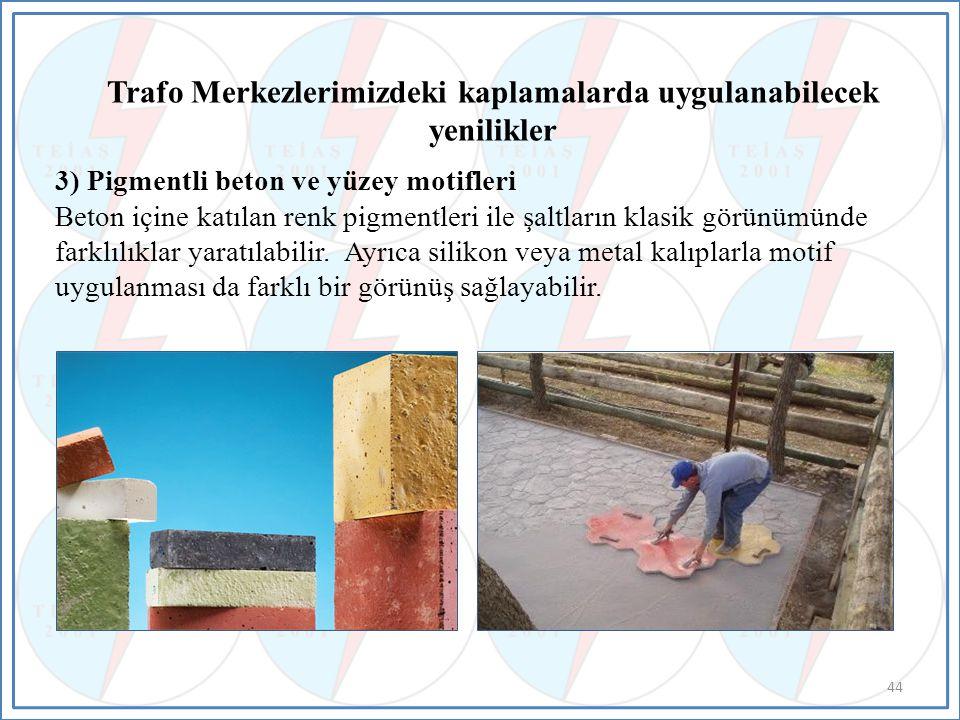 3) Pigmentli beton ve yüzey motifleri Beton içine katılan renk pigmentleri ile şaltların klasik görünümünde farklılıklar yaratılabilir.