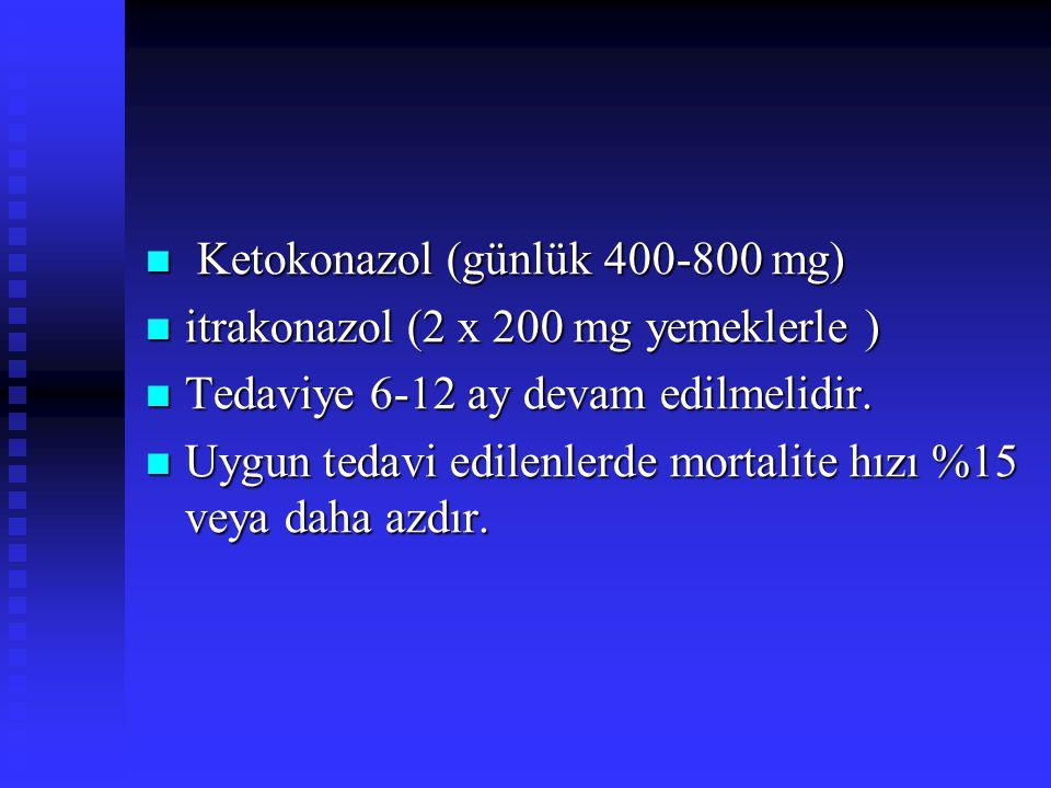 Ketokonazol (günlük 400-800 mg) Ketokonazol (günlük 400-800 mg) itrakonazol (2 x 200 mg yemeklerle ) itrakonazol (2 x 200 mg yemeklerle ) Tedaviye 6-1
