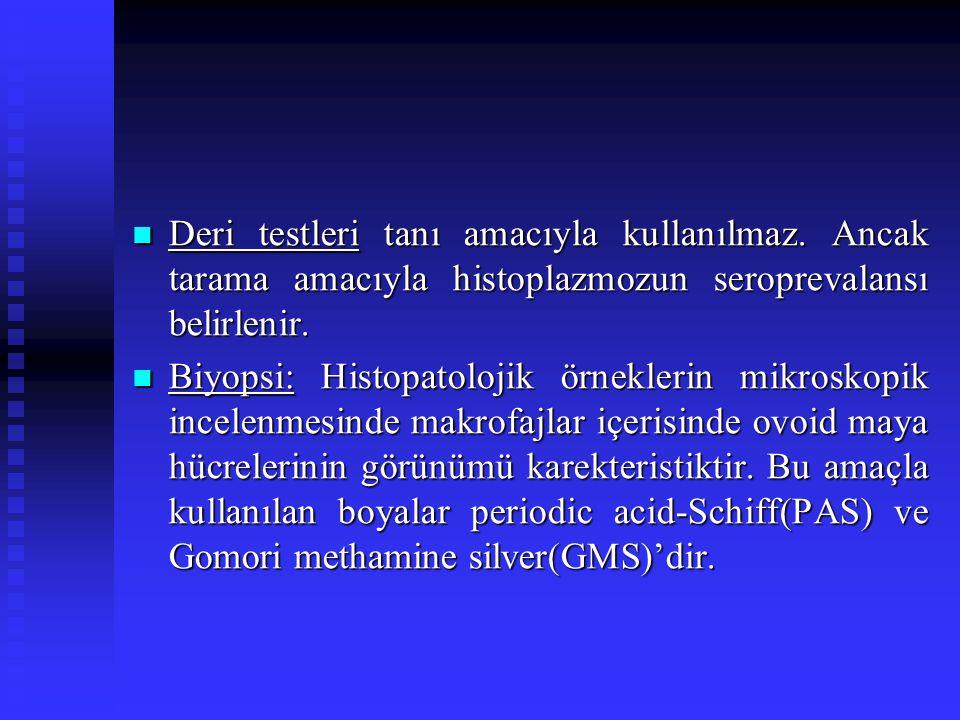 Deri testleri tanı amacıyla kullanılmaz. Ancak tarama amacıyla histoplazmozun seroprevalansı belirlenir. Deri testleri tanı amacıyla kullanılmaz. Anca