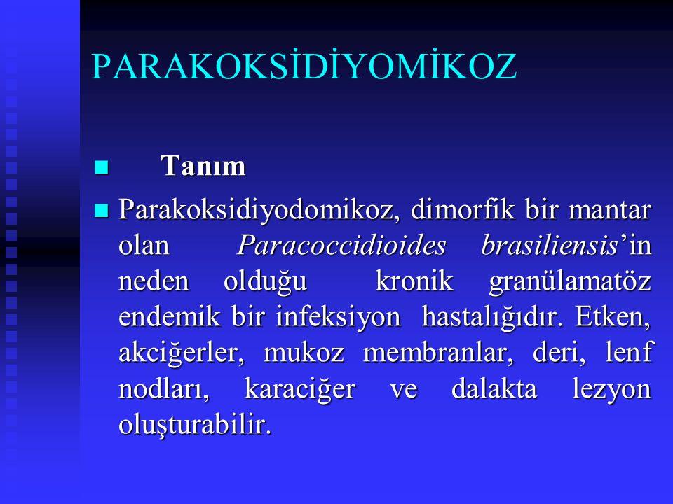 PARAKOKSİDİYOMİKOZ Tanım Tanım Parakoksidiyodomikoz, dimorfik bir mantar olan Paracoccidioides brasiliensis'in neden olduğu kronik granülamatöz endemi