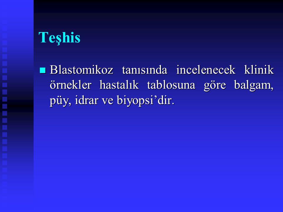 Teşhis Blastomikoz tanısında incelenecek klinik örnekler hastalık tablosuna göre balgam, püy, idrar ve biyopsi'dir. Blastomikoz tanısında incelenecek
