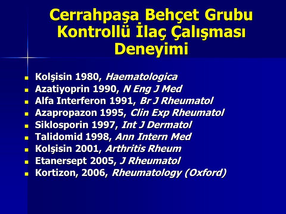 Cerrahpaşa Behçet Grubu Kontrollü İlaç Çalışması Deneyimi Kolşisin 1980, Haematologica Kolşisin 1980, Haematologica Azatiyoprin 1990, N Eng J Med Azat