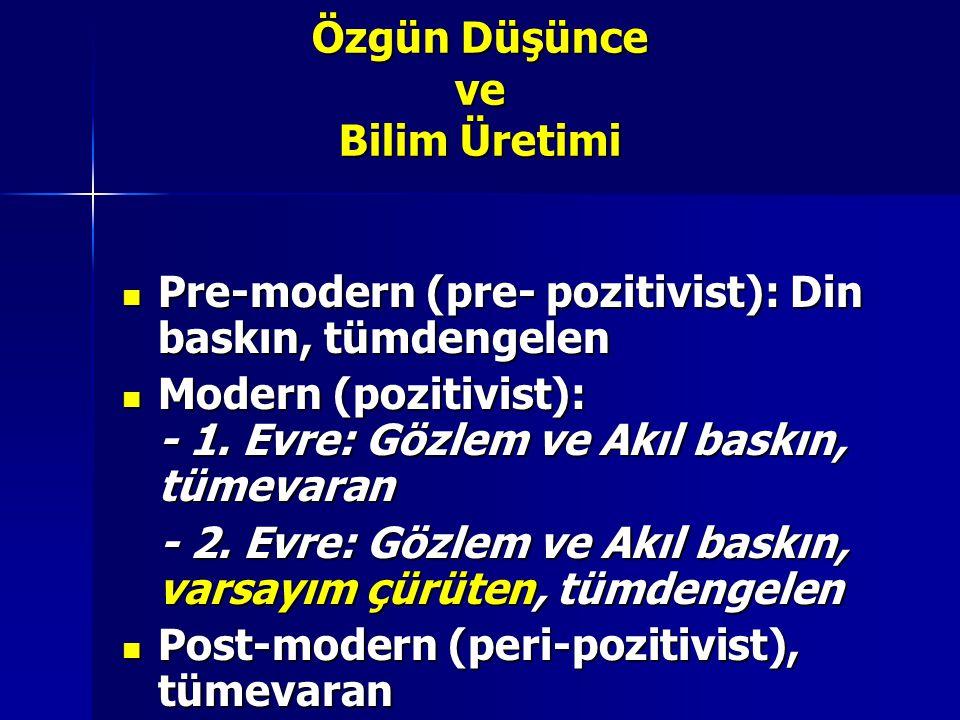 Özgün Düşünce ve Bilim Üretimi Pre-modern (pre- pozitivist): Din baskın, tümdengelen Pre-modern (pre- pozitivist): Din baskın, tümdengelen Modern (pozitivist): - 1.