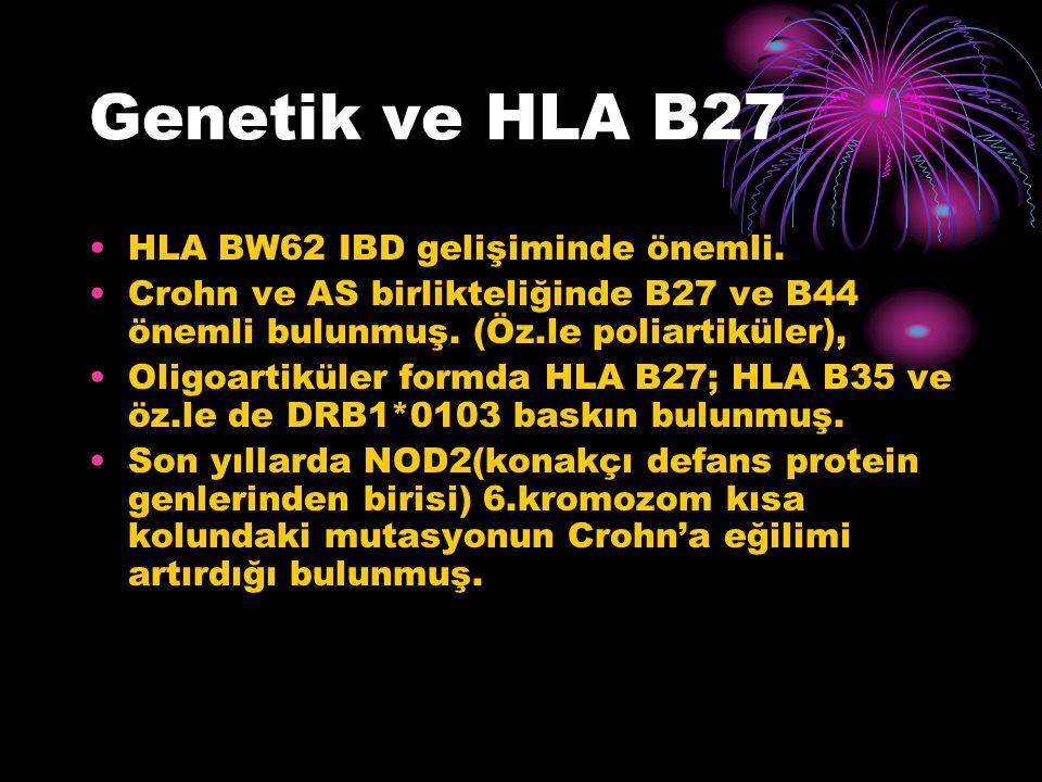 Genetik ve HLA B27 HLA BW62 IBD gelişiminde önemli. Crohn ve AS birlikteliğinde B27 ve B44 önemli bulunmuş. (Öz.le poliartiküler), Oligoartiküler form