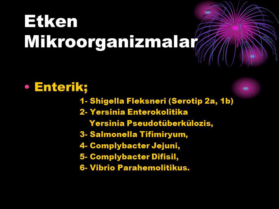 Etken Mikroorganizmalar Enterik; 1- Shigella Fleksneri (Serotip 2a, 1b) 2- Yersinia Enterokolitika Yersinia Pseudotüberkülozis, 3- Salmonella Tifimiry