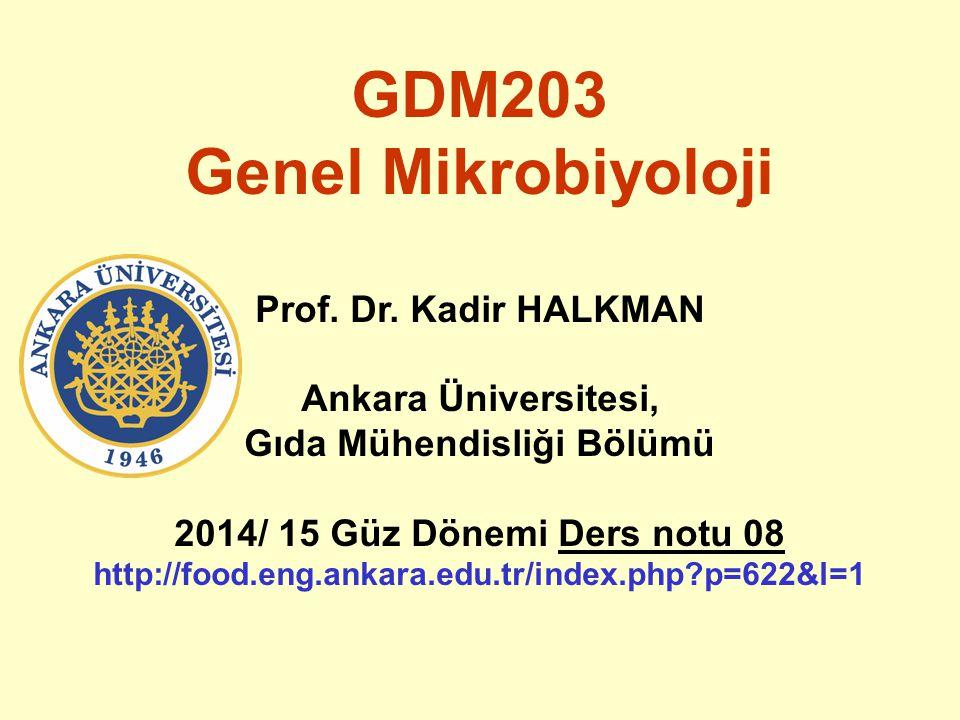 GDM203 Genel Mikrobiyoloji Prof. Dr. Kadir HALKMAN Ankara Üniversitesi, Gıda Mühendisliği Bölümü 2014/ 15 Güz Dönemi Ders notu 08 http://food.eng.anka