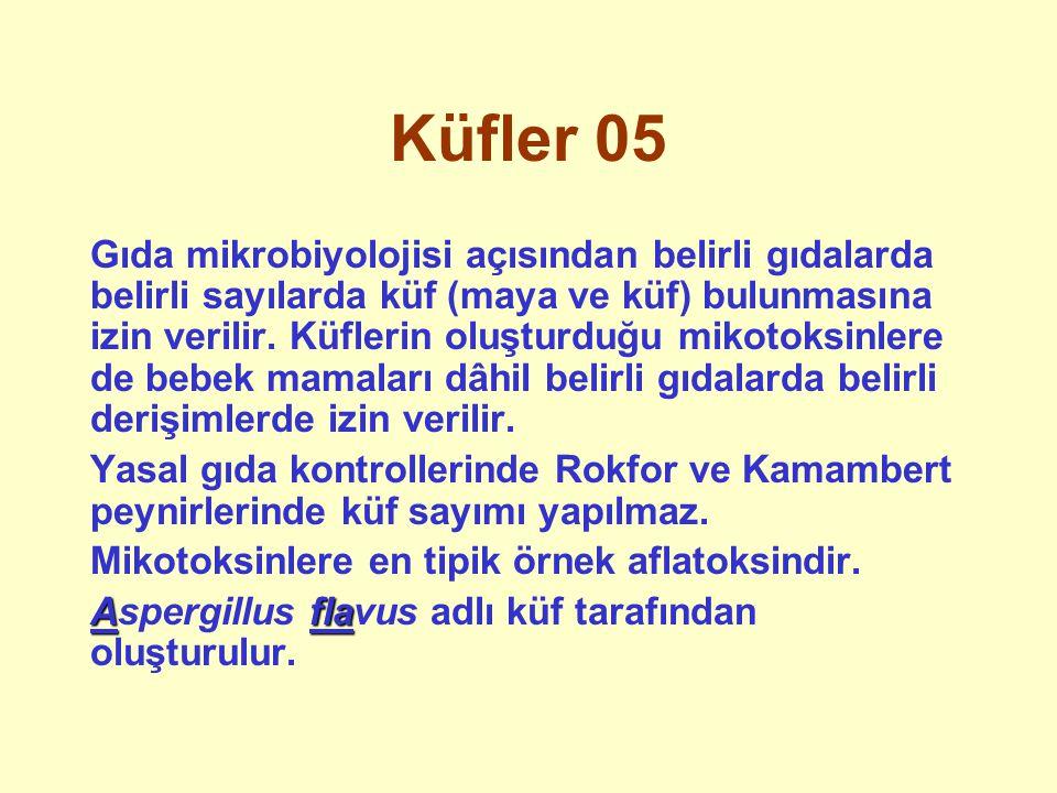 Küfler 05 Gıda mikrobiyolojisi açısından belirli gıdalarda belirli sayılarda küf (maya ve küf) bulunmasına izin verilir. Küflerin oluşturduğu mikotoks