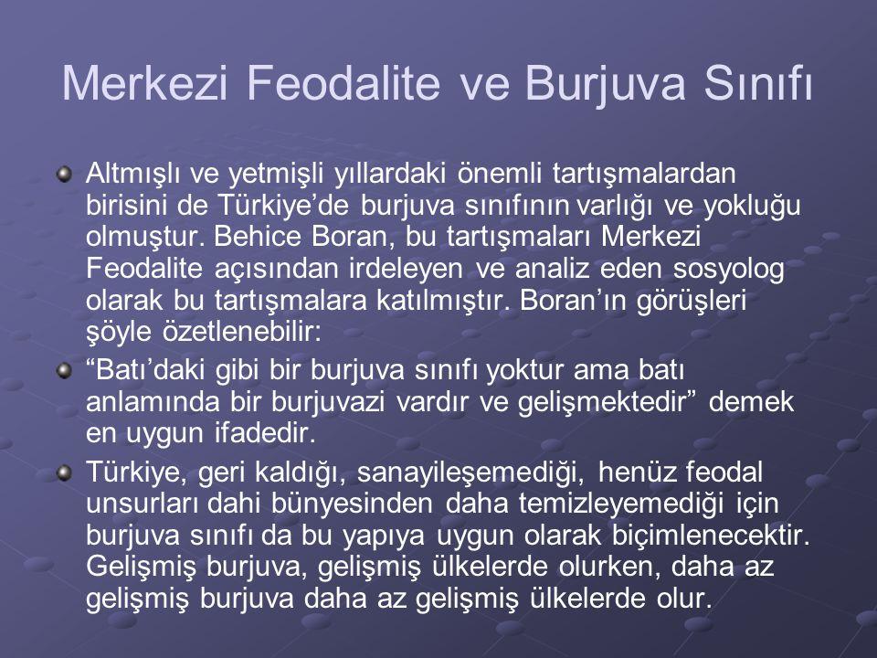 Merkezi Feodalite ve Burjuva Sınıfı Altmışlı ve yetmişli yıllardaki önemli tartışmalardan birisini de Türkiye'de burjuva sınıfının varlığı ve yokluğu