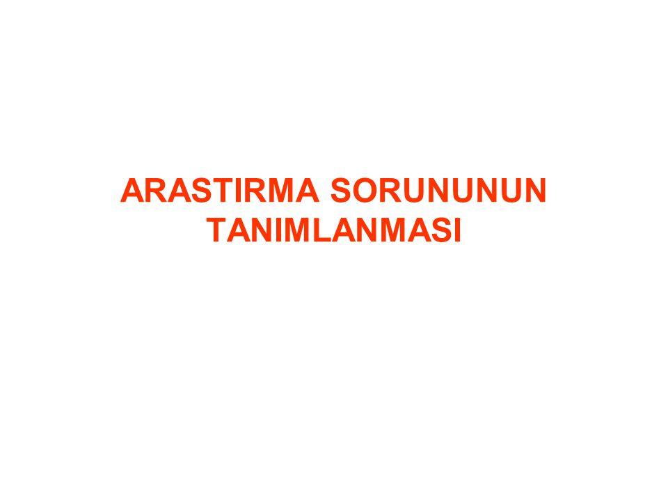 ARASTIRMA SORUNUNUN TANIMLANMASI