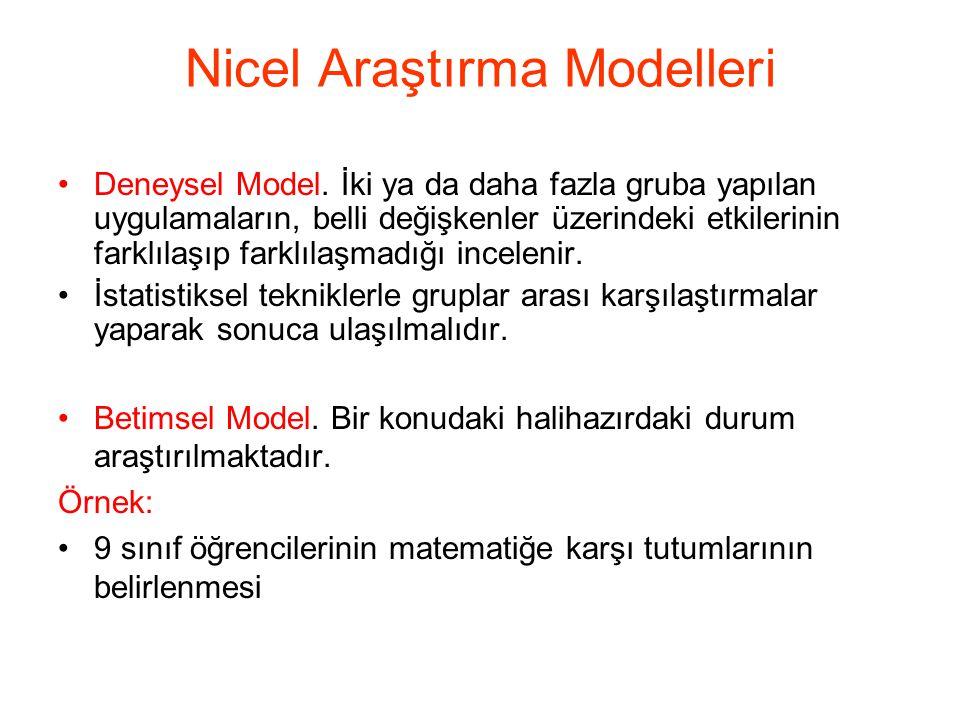 Nicel Araştırma Modelleri Deneysel Model. İki ya da daha fazla gruba yapılan uygulamaların, belli değişkenler üzerindeki etkilerinin farklılaşıp farkl