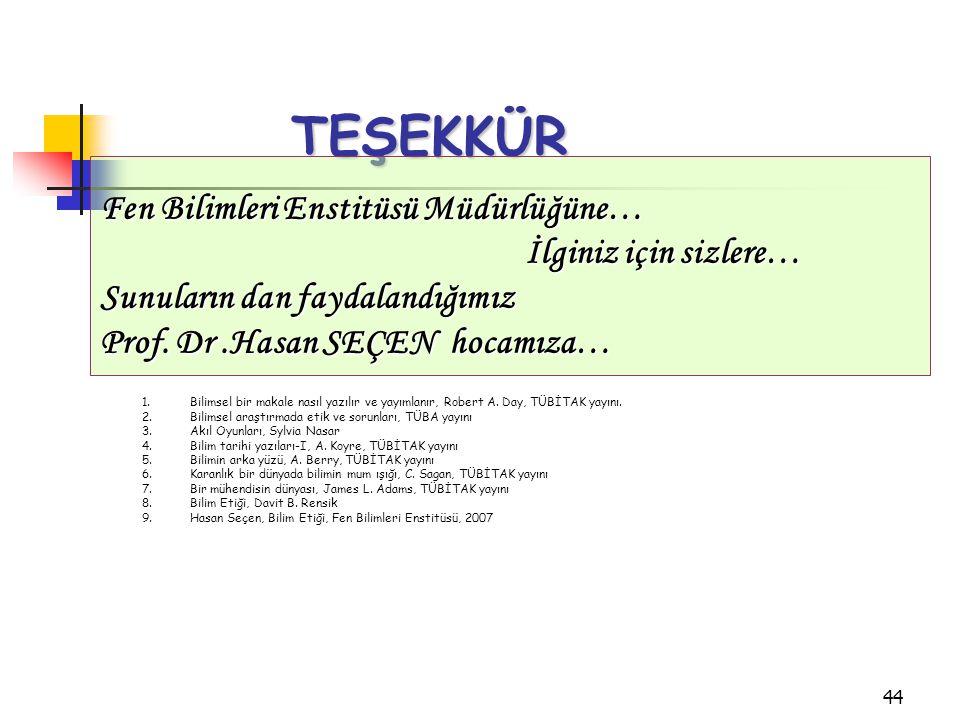 44 TEŞEKKÜR Fen Bilimleri Enstitüsü Müdürlüğüne… İlginiz için sizlere… İlginiz için sizlere… Sunuların dan faydalandığımız Prof. Dr.Hasan SEÇEN hocamı
