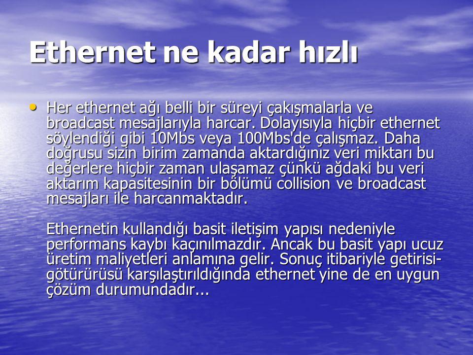 Ethernet ne kadar hızlı Her ethernet ağı belli bir süreyi çakışmalarla ve broadcast mesajlarıyla harcar.