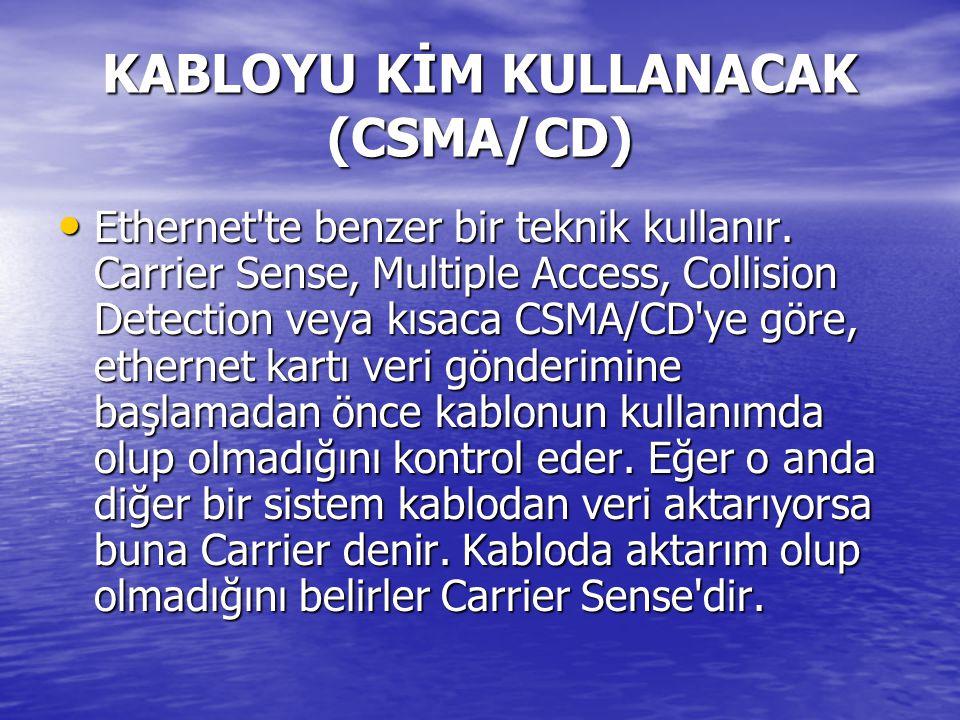KABLOYU KİM KULLANACAK (CSMA/CD) Ethernet te benzer bir teknik kullanır.