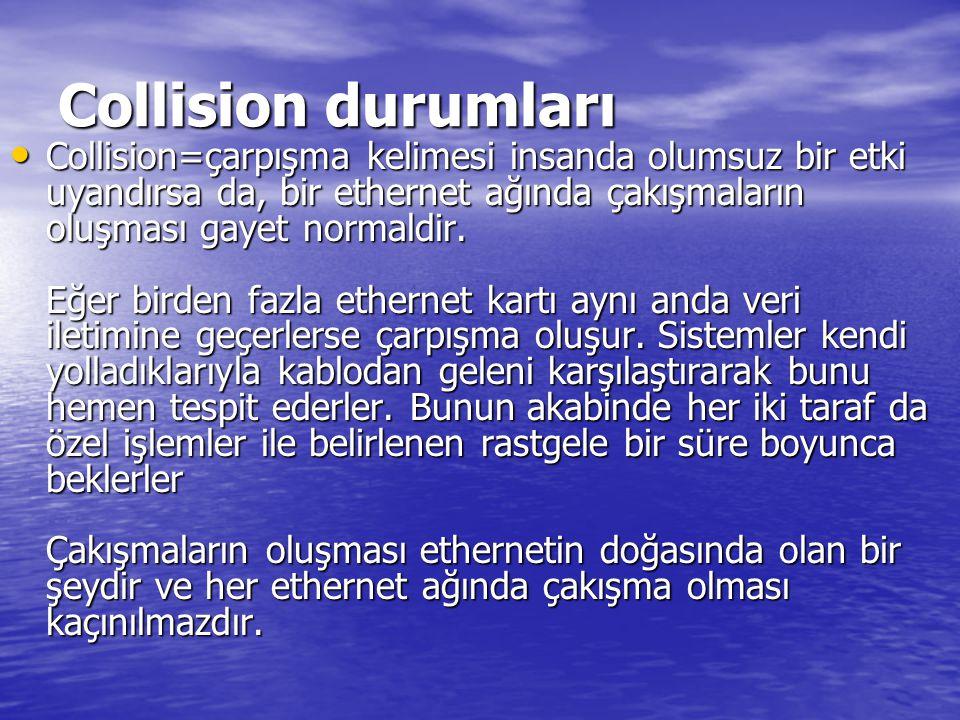 Collision durumları Collision=çarpışma kelimesi insanda olumsuz bir etki uyandırsa da, bir ethernet ağında çakışmaların oluşması gayet normaldir.