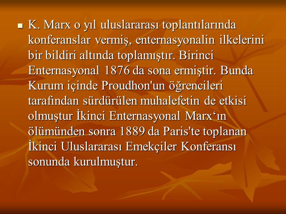 K. Marx o yıl uluslararası toplantılarında konferanslar vermiş, enternasyonalin ilkelerini bir bildiri altında toplamıştır. Birinci Enternasyonal 1876