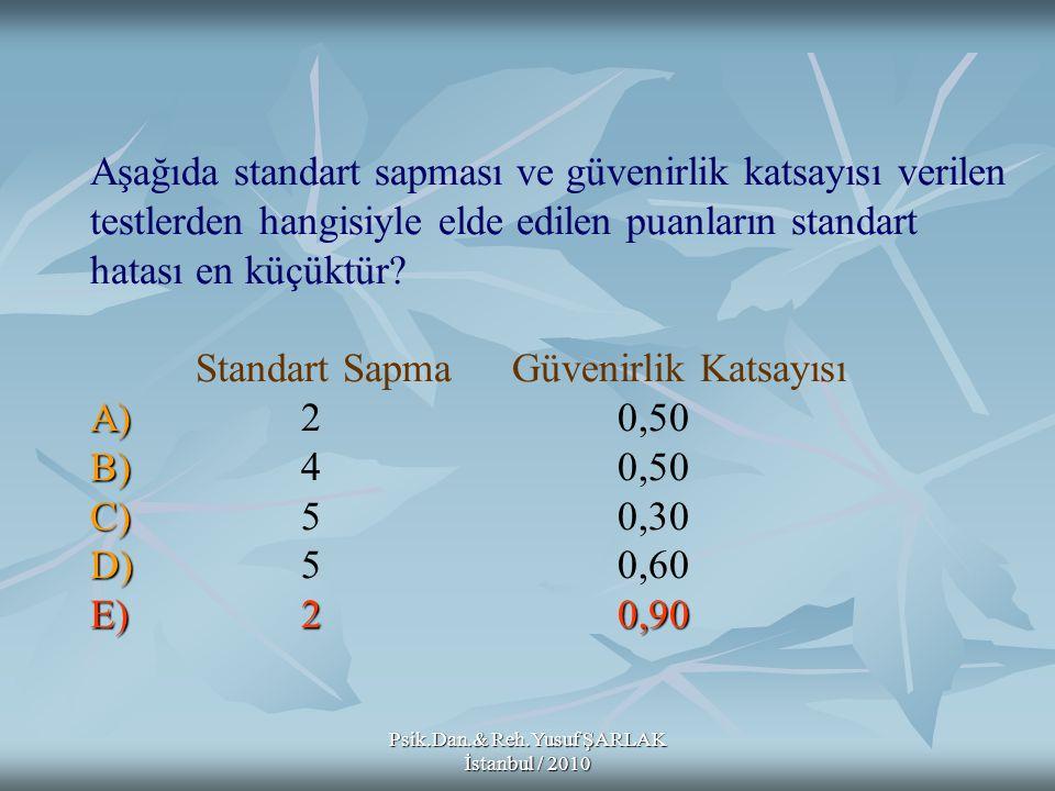 Psik.Dan.& Reh.Yusuf ŞARLAK İstanbul / 2010 A) B) C) D) E)20,90 Aşağıda standart sapması ve güvenirlik katsayısı verilen testlerden hangisiyle elde ed