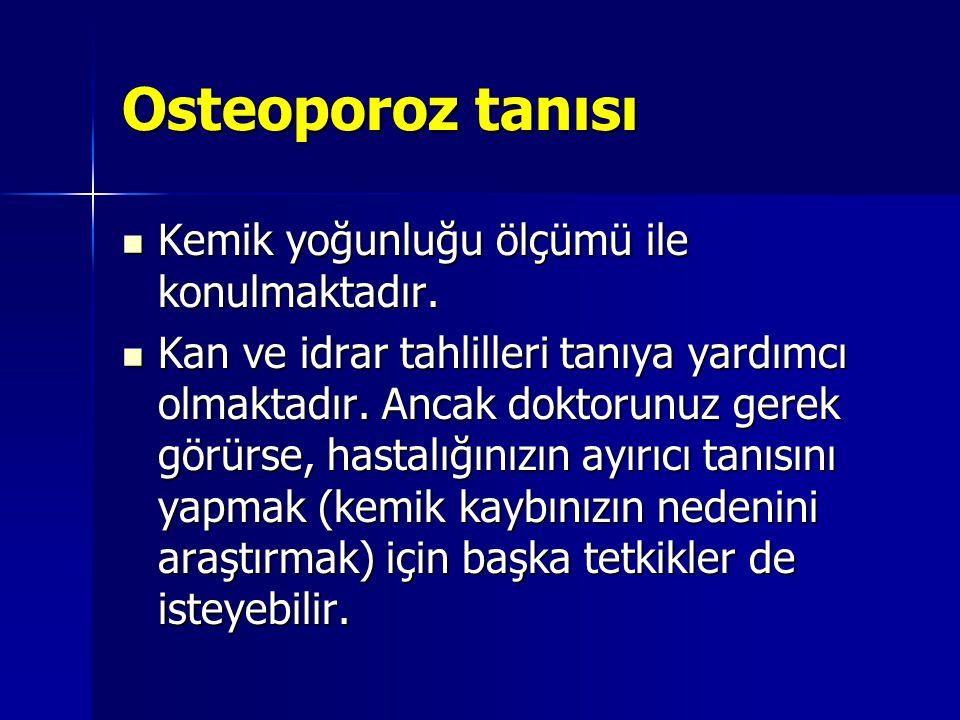Osteoporoz tanısı Kemik yoğunluğu ölçümü ile konulmaktadır. Kemik yoğunluğu ölçümü ile konulmaktadır. Kan ve idrar tahlilleri tanıya yardımcı olmaktad