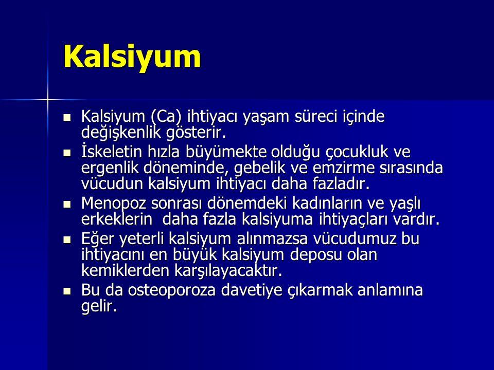Kalsiyum Kalsiyum (Ca) ihtiyacı yaşam süreci içinde değişkenlik gösterir.