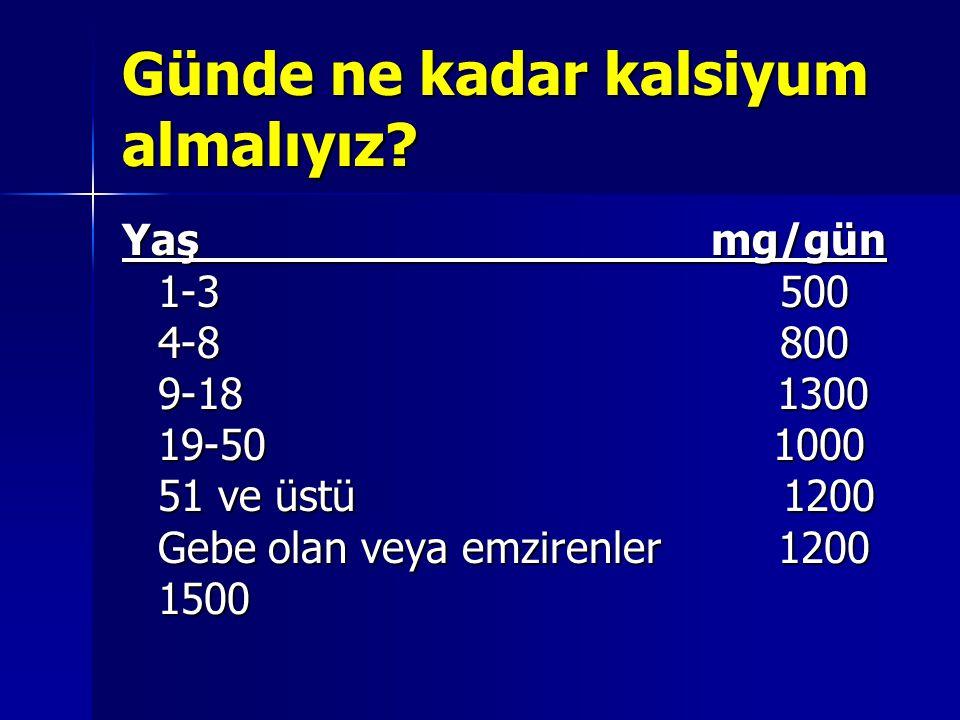 Günde ne kadar kalsiyum almalıyız? Yaş mg/gün 1-3 500 4-8 800 9-18 1300 19-50 1000 51 ve üstü 1200 Gebe olan veya emzirenler 1200 1500