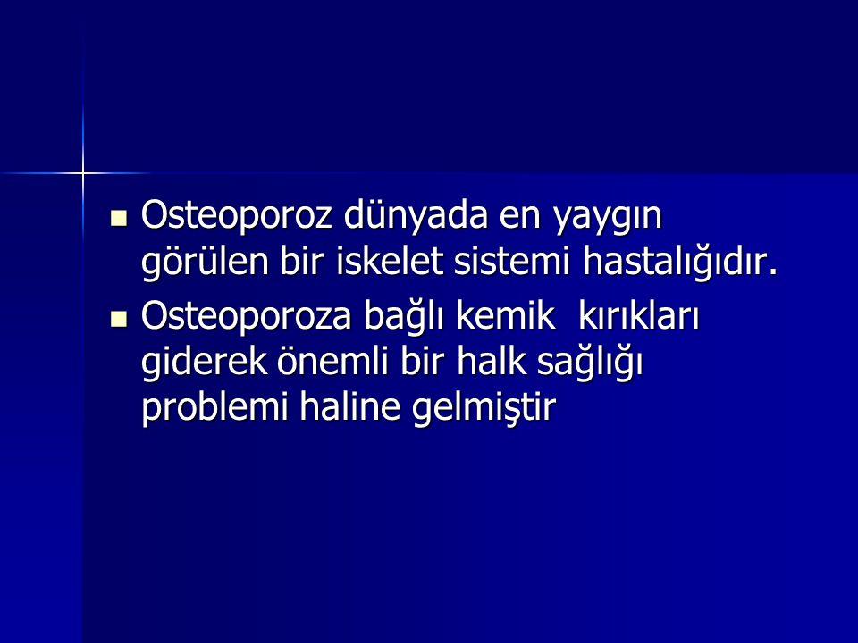 Osteoporoz dünyada en yaygın görülen bir iskelet sistemi hastalığıdır. Osteoporoz dünyada en yaygın görülen bir iskelet sistemi hastalığıdır. Osteopor