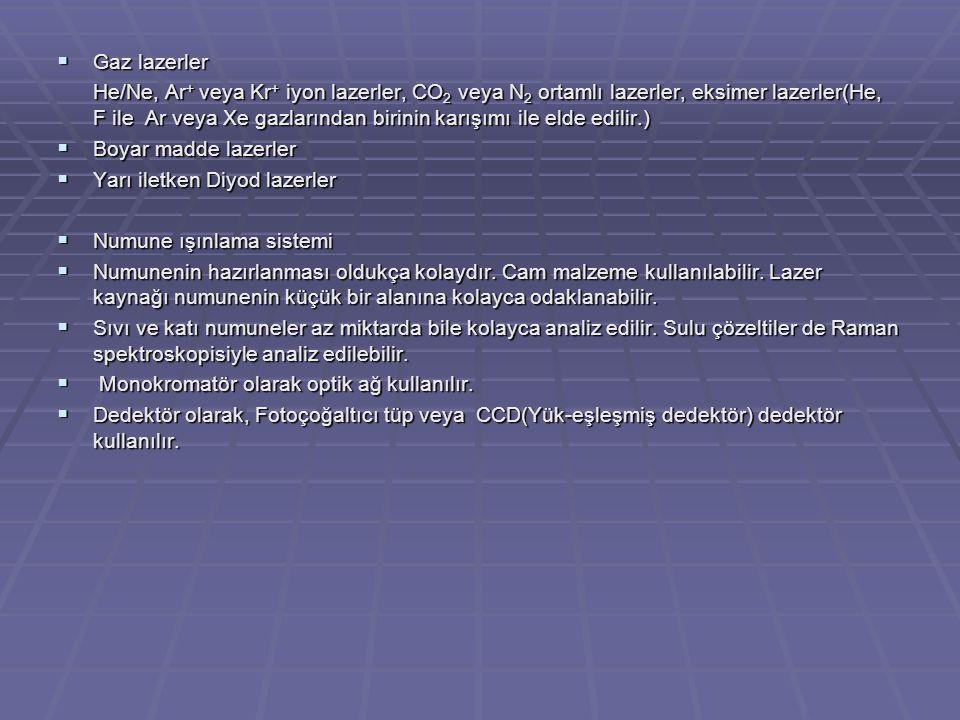 Gaz lazerler He/Ne, Ar + veya Kr + iyon lazerler, CO 2 veya N 2 ortamlı lazerler, eksimer lazerler(He, F ile Ar veya Xe gazlarından birinin karışımı