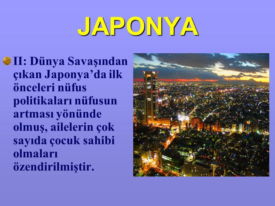 JAPONYA II: Dünya Savaşından çıkan Japonya'da ilk önceleri nüfus politikaları nüfusun artması yönünde olmuş, ailelerin çok sayıda çocuk sahibi olmaları özendirilmiştir.