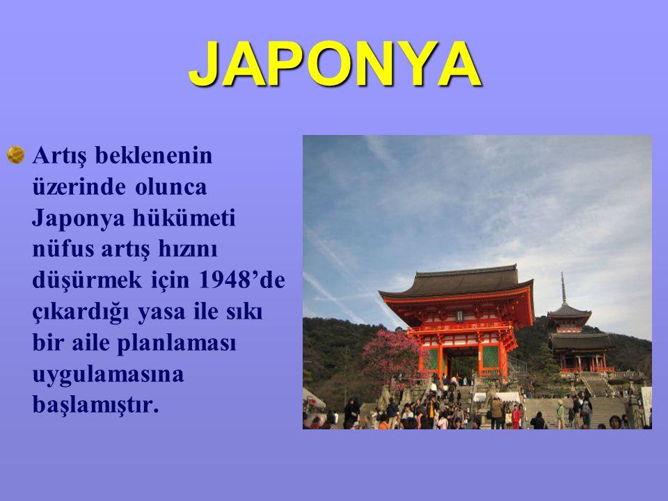 JAPONYA Artış beklenenin üzerinde olunca Japonya hükümeti nüfus artış hızını düşürmek için 1948'de çıkardığı yasa ile sıkı bir aile planlaması uygulamasına başlamıştır.