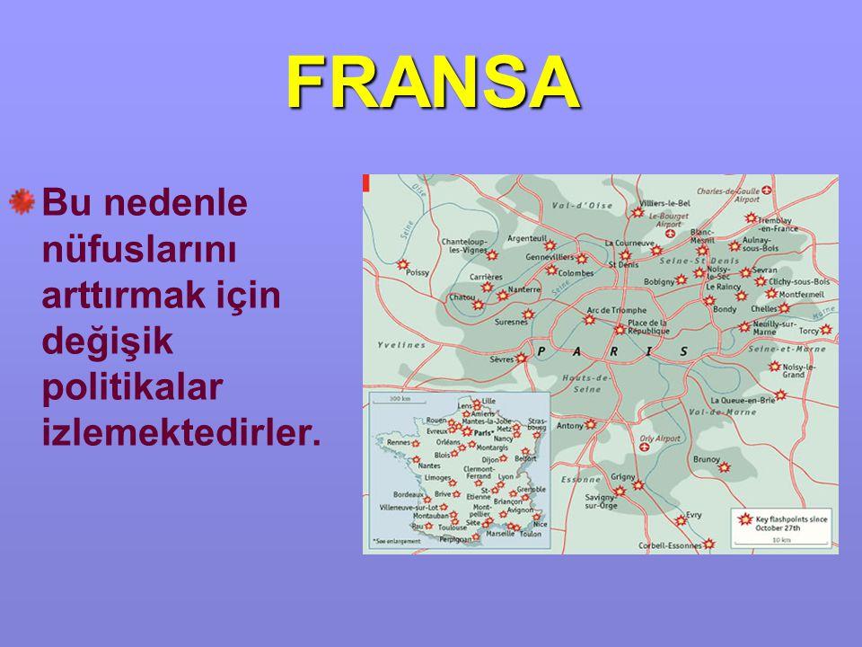 FRANSA Bu nedenle nüfuslarını arttırmak için değişik politikalar izlemektedirler.