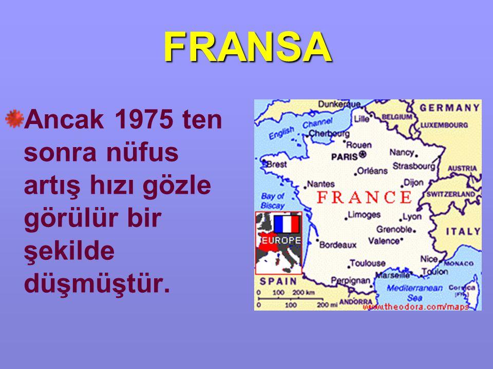 FRANSA Ancak 1975 ten sonra nüfus artış hızı gözle görülür bir şekilde düşmüştür.