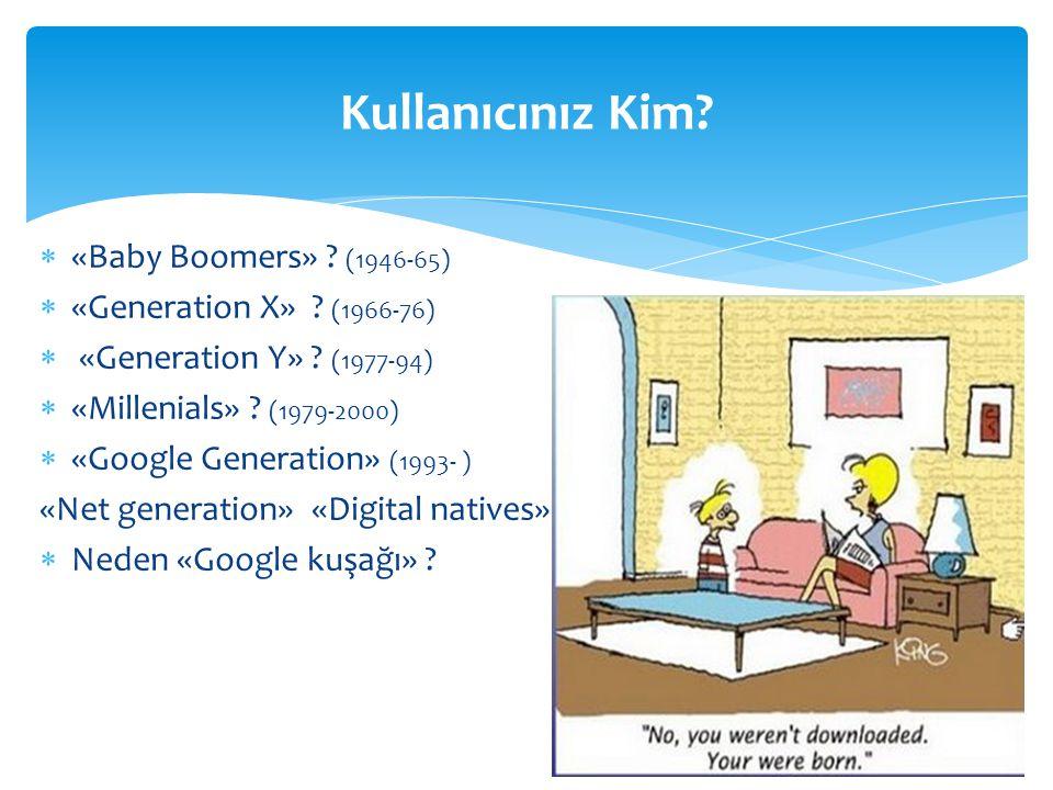  «Baby Boomers» ? (1946-65)  «Generation X» ? (1966-76)  «Generation Y» ? (1977-94)  «Millenials» ? (1979-2000)  «Google Generation» (1993- ) «Ne