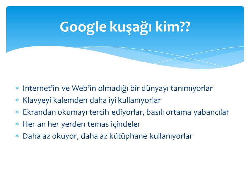  Zaman ve hız algısı farklı  İletişim şeklinde değişim (konuşma yerine mesajlaşma)  Deneyerek öğrenme  Görsellik  Çoklu görev yapabilme  Sonuca yönelik olma  Özgüvenleri ve beklentileri yüksek Google Kuşağının Özellikleri