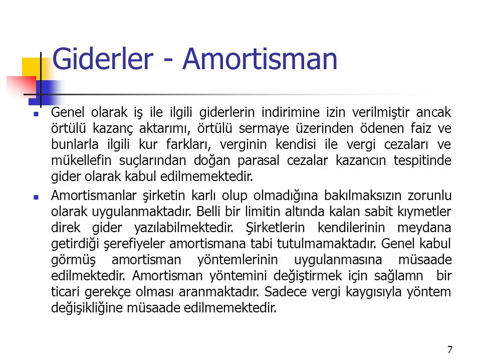 7 Giderler - Amortisman Genel olarak iş ile ilgili giderlerin indirimine izin verilmiştir ancak örtülü kazanç aktarımı, örtülü sermaye üzerinden ödene