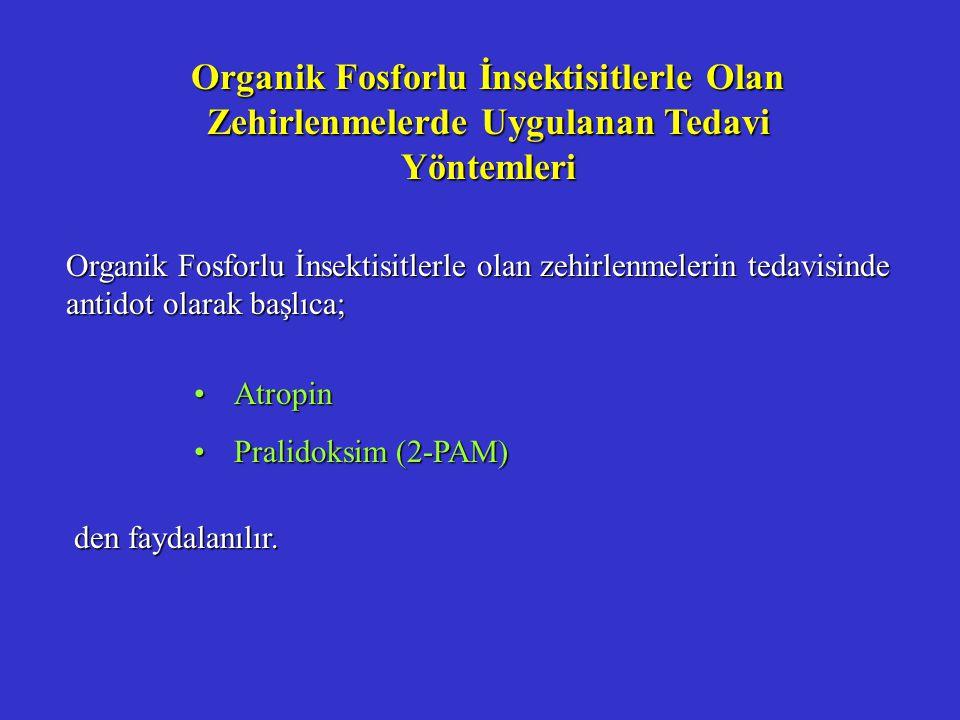 Organik Fosforlu İnsektisitlerle Olan Zehirlenmelerde Uygulanan Tedavi Yöntemleri Organik Fosforlu İnsektisitlerle olan zehirlenmelerin tedavisinde antidot olarak başlıca; AtropinAtropin Pralidoksim (2-PAM)Pralidoksim (2-PAM) den faydalanılır.