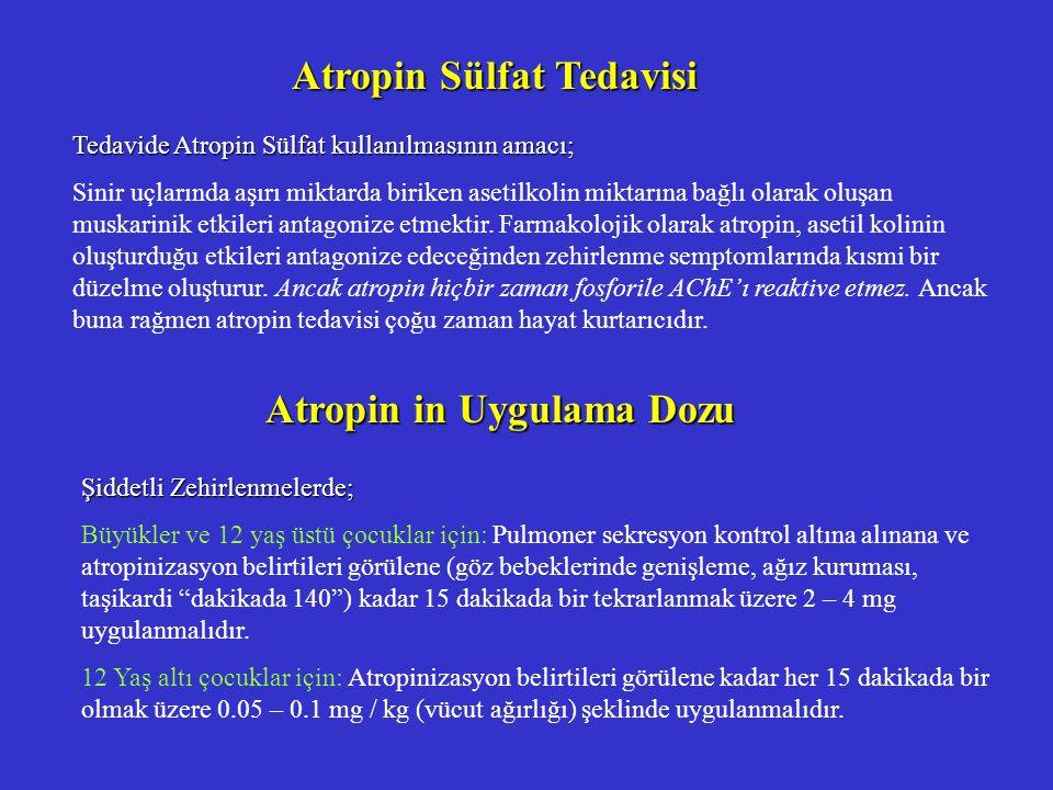 Atropin Sülfat Tedavisi Tedavide Atropin Sülfat kullanılmasının amacı; Sinir uçlarında aşırı miktarda biriken asetilkolin miktarına bağlı olarak oluşan muskarinik etkileri antagonize etmektir.