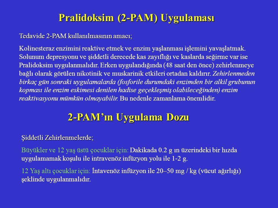 Pralidoksim (2-PAM) Uygulaması Tedavide 2-PAM kullanılmasının amacı; Kolinesteraz enzimini reaktive etmek ve enzim yaşlanması işlemini yavaşlatmak.