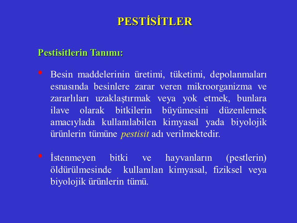 Pestisitler; kullanım alanları göz önüne alındığında aşağıdaki şekilde sınıflandırılabilirler.