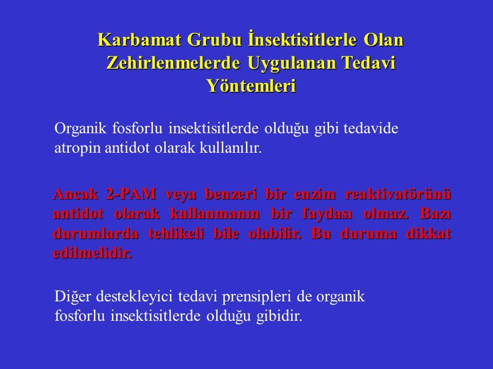 Karbamat Grubu İnsektisitlerle Olan Zehirlenmelerde Uygulanan Tedavi Yöntemleri Organik fosforlu insektisitlerde olduğu gibi tedavide atropin antidot olarak kullanılır.