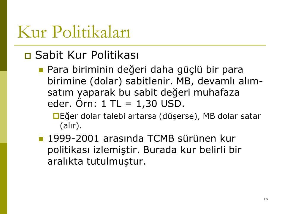 16 Kur Politikaları  Sabit Kur Politikası Para biriminin değeri daha güçlü bir para birimine (dolar) sabitlenir.