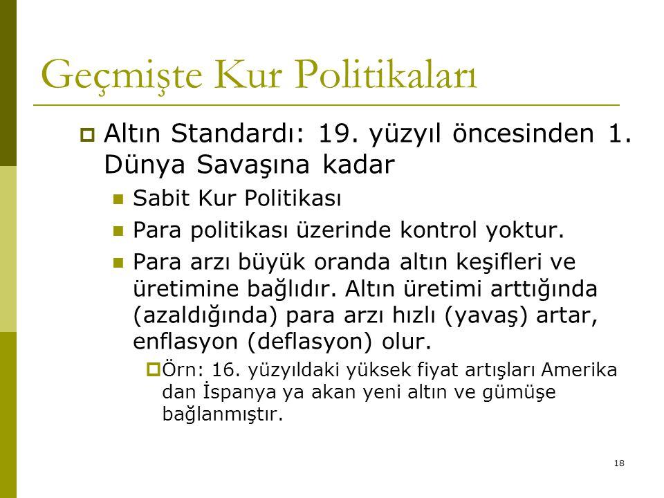 18 Geçmişte Kur Politikaları  Altın Standardı: 19.