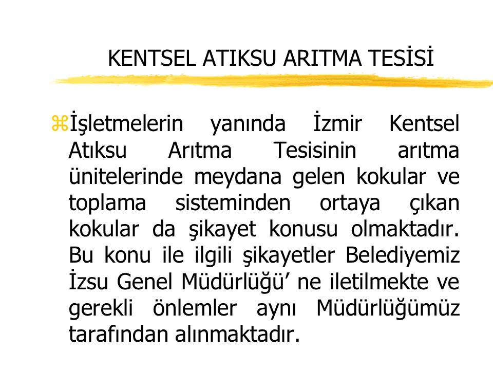 KENTSEL ATIKSU ARITMA TESİSİ zİşletmelerin yanında İzmir Kentsel Atıksu Arıtma Tesisinin arıtma ünitelerinde meydana gelen kokular ve toplama sistemin