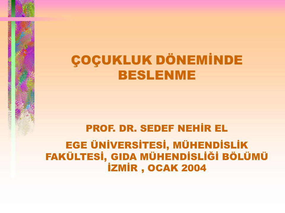 ÇOÇUKLUK DÖNEMİNDE BESLENME PROF.DR.