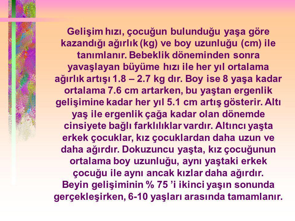 Gelişim hızı, çocuğun bulunduğu yaşa göre kazandığı ağırlık (kg) ve boy uzunluğu (cm) ile tanımlanır.