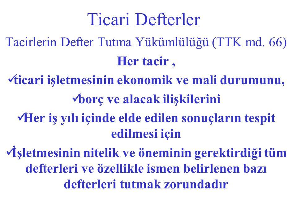 Ticari Defterler Tacirlerin Defter Tutma Yükümlülüğü (TTK md.