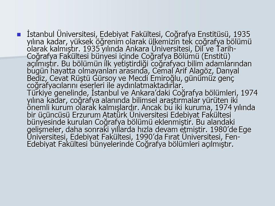İstanbul Üniversitesi, Edebiyat Fakültesi, Coğrafya Enstitüsü, 1935 yılına kadar, yüksek öğrenim olarak ülkemizin tek coğrafya bölümü olarak kalmıştır