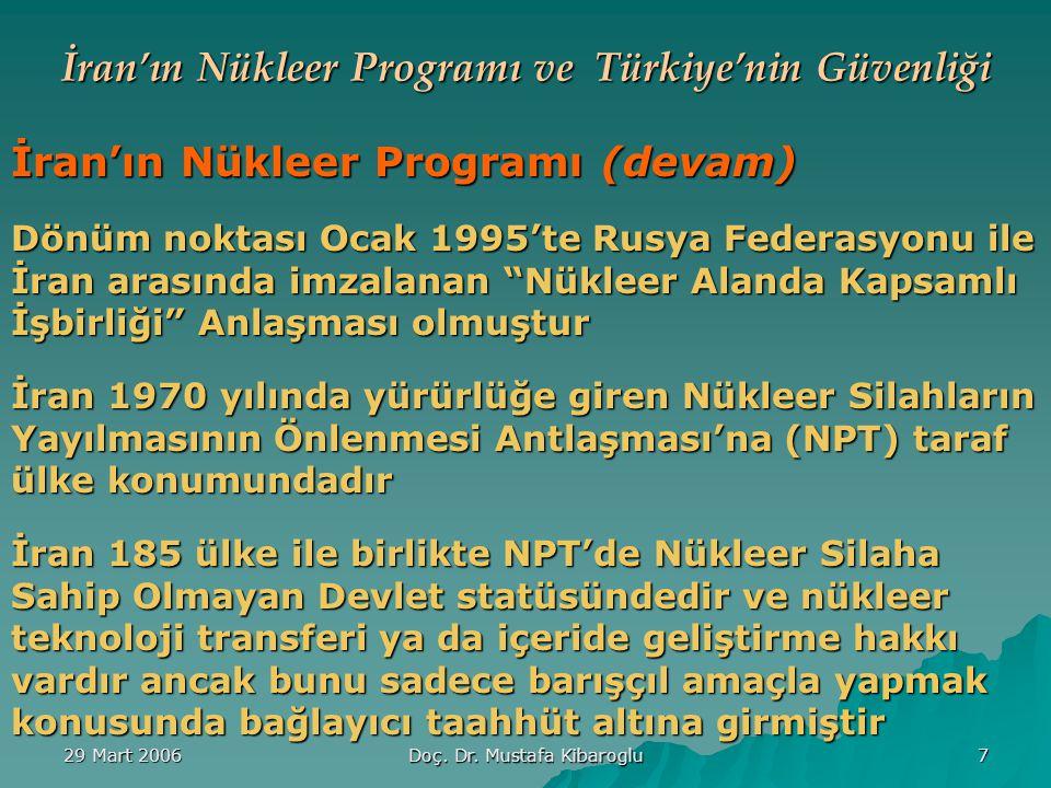 İran'ın Nükleer Programı ve Türkiye'nin Güvenliğine Etkileri Doç.