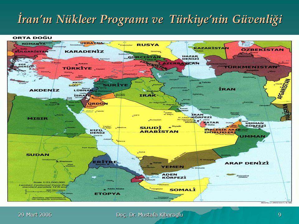29 Mart 2006 Doç. Dr. Mustafa Kibaroglu 9 İran'ın Nükleer Programı ve Türkiye'nin Güvenliği
