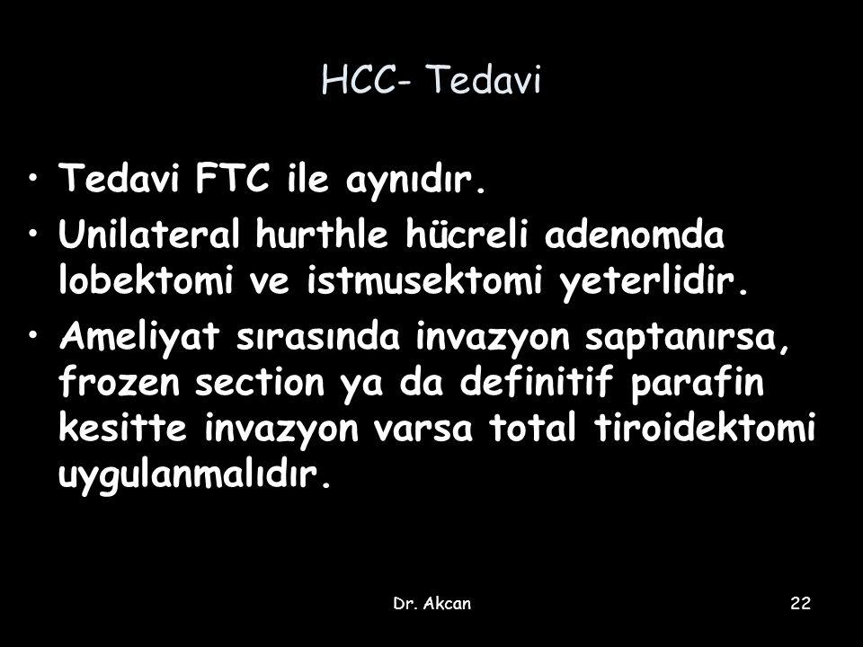 Dr. Akcan22 HCC- Tedavi Tedavi FTC ile aynıdır. Unilateral hurthle hücreli adenomda lobektomi ve istmusektomi yeterlidir. Ameliyat sırasında invazyon