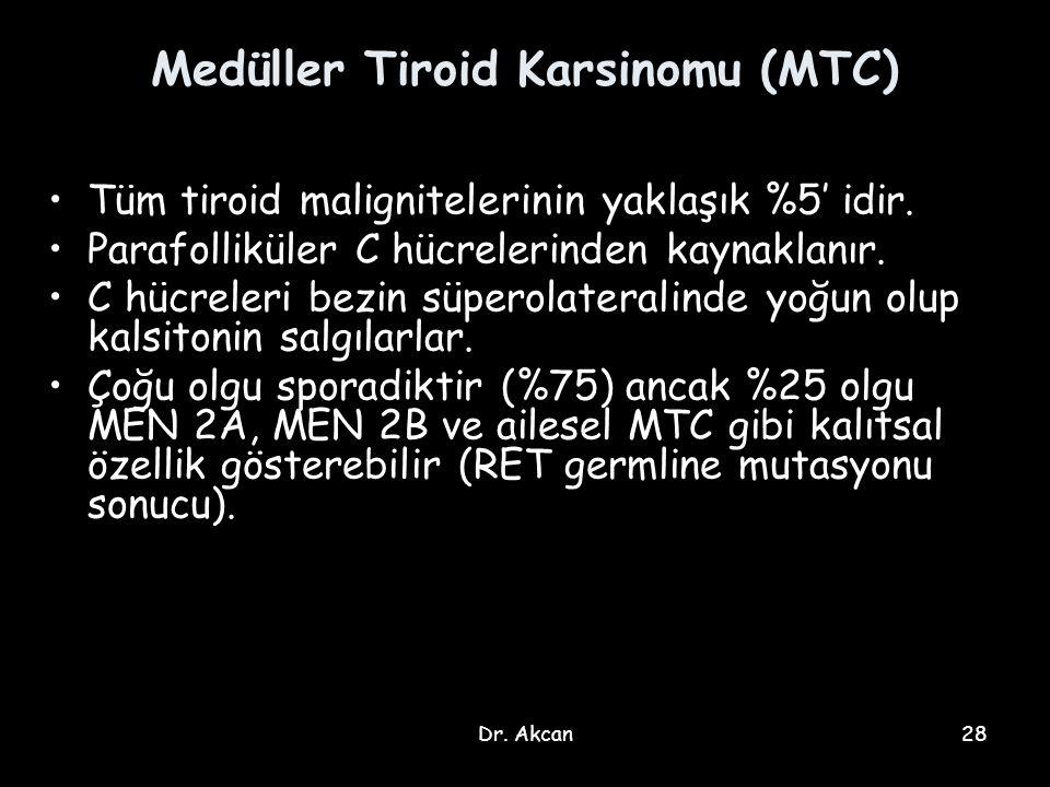 Dr. Akcan28 Medüller Tiroid Karsinomu (MTC) Tüm tiroid malignitelerinin yaklaşık %5' idir. Parafolliküler C hücrelerinden kaynaklanır. C hücreleri bez